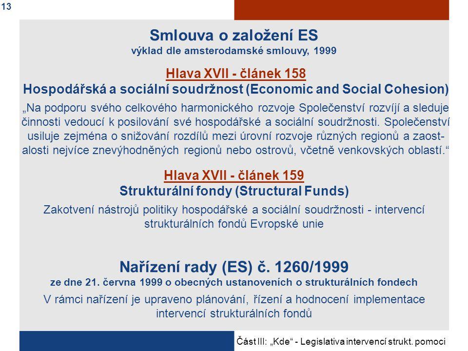 """Část III: """"Kde - Legislativa intervencí strukt.pomoci Nařízení rady (ES) č."""