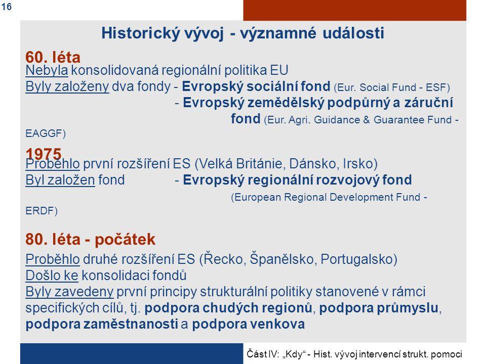 Historický vývoj - významné události Nebyla konsolidovaná regionální politika EU Byly založeny dva fondy - Evropský sociální fond (Eur.