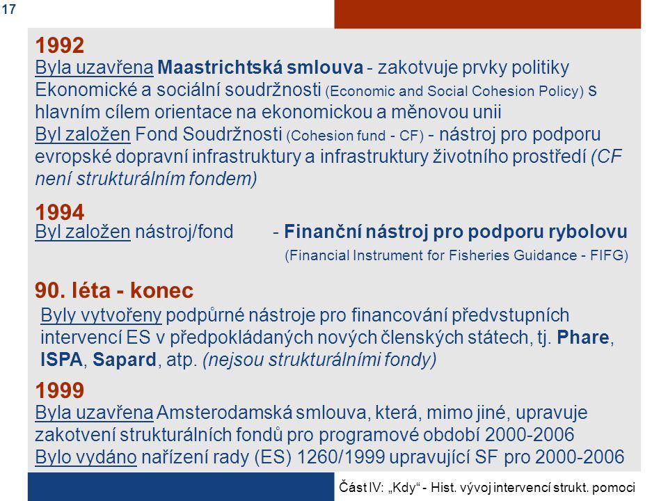 Byla uzavřena Maastrichtská smlouva - zakotvuje prvky politiky Ekonomické a sociální soudržnosti (Economic and Social Cohesion Policy) s hlavním cílem orientace na ekonomickou a měnovou unii Byl založen Fond Soudržnosti (Cohesion fund - CF) - nástroj pro podporu evropské dopravní infrastruktury a infrastruktury životního prostředí (CF není strukturálním fondem) 1992 1994 Byl založen nástroj/fond - Finanční nástroj pro podporu rybolovu (Financial Instrument for Fisheries Guidance - FIFG) 90.