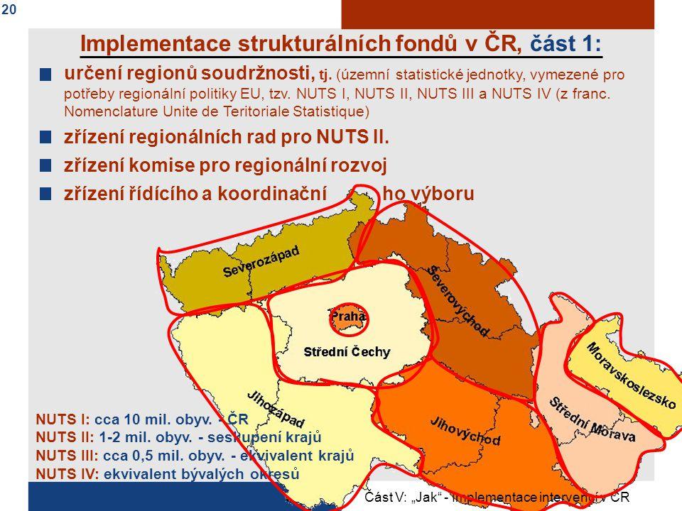 určení regionů soudržnosti, tj.