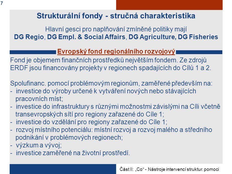 Strukturální fondy - stručná charakteristika Hlavní gesci pro naplňování zmíněné politiky mají DG Regio, DG Empl.