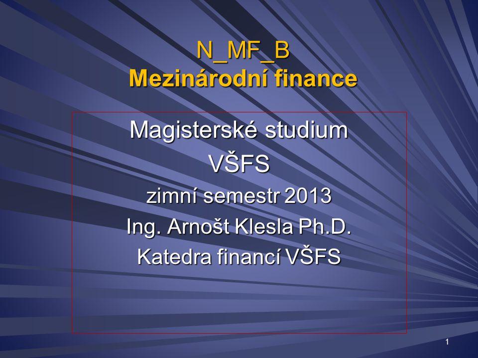N_MF_B Mezinárodní finance Magisterské studium VŠFS zimní semestr 2013 Ing.