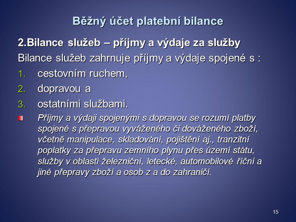 Běžný účet platební bilance 2.Bilance služeb – příjmy a výdaje za služby Bilance služeb zahrnuje příjmy a výdaje spojené s : 1.
