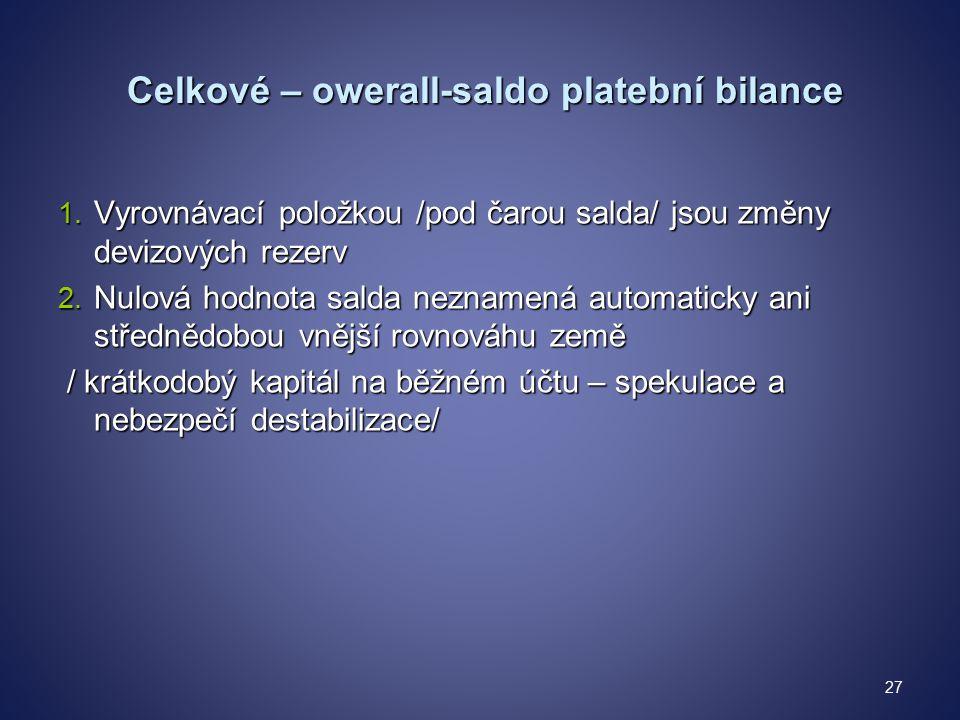 Celkové – owerall-saldo platební bilance Celkové – owerall-saldo platební bilance 1.