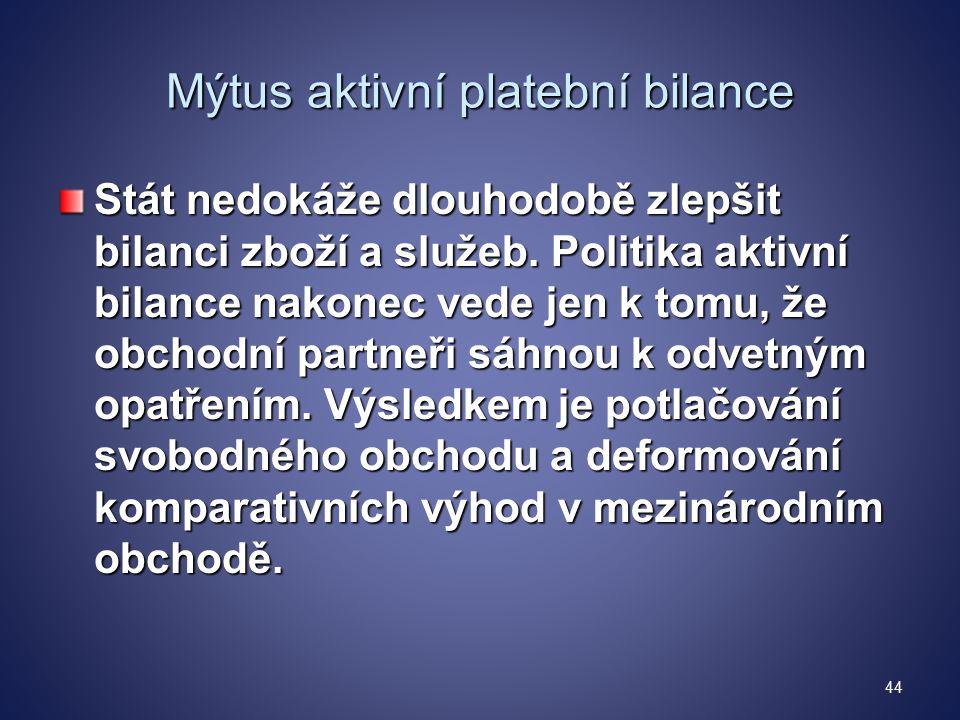 Mýtus aktivní platební bilance Stát nedokáže dlouhodobě zlepšit bilanci zboží a služeb.