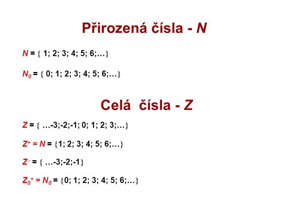 Přirozená čísla - N N =  1; 2; 3; 4; 5; 6;…  N 0 =  0; 1; 2; 3; 4; 5; 6;…  Celá čísla - Z Z =  …-3;-2;-1; 0; 1; 2; 3;…  Z + = N =  1; 2; 3; 4;