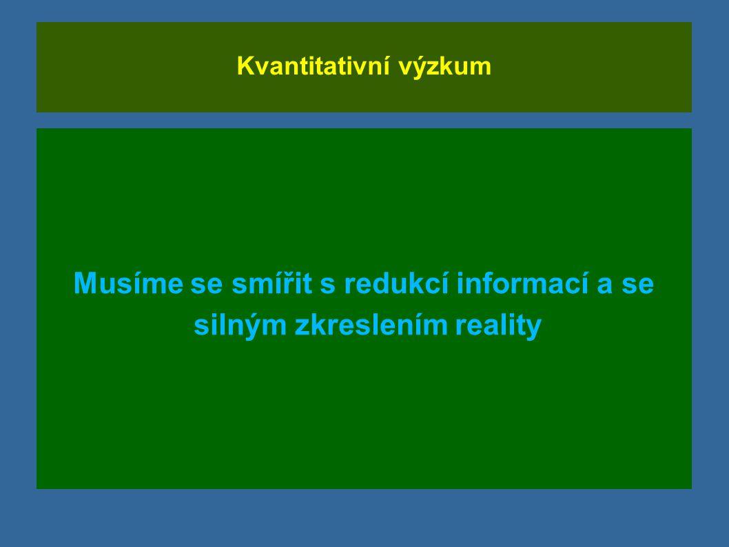Kvantitativní výzkum Musíme se smířit s redukcí informací a se silným zkreslením reality