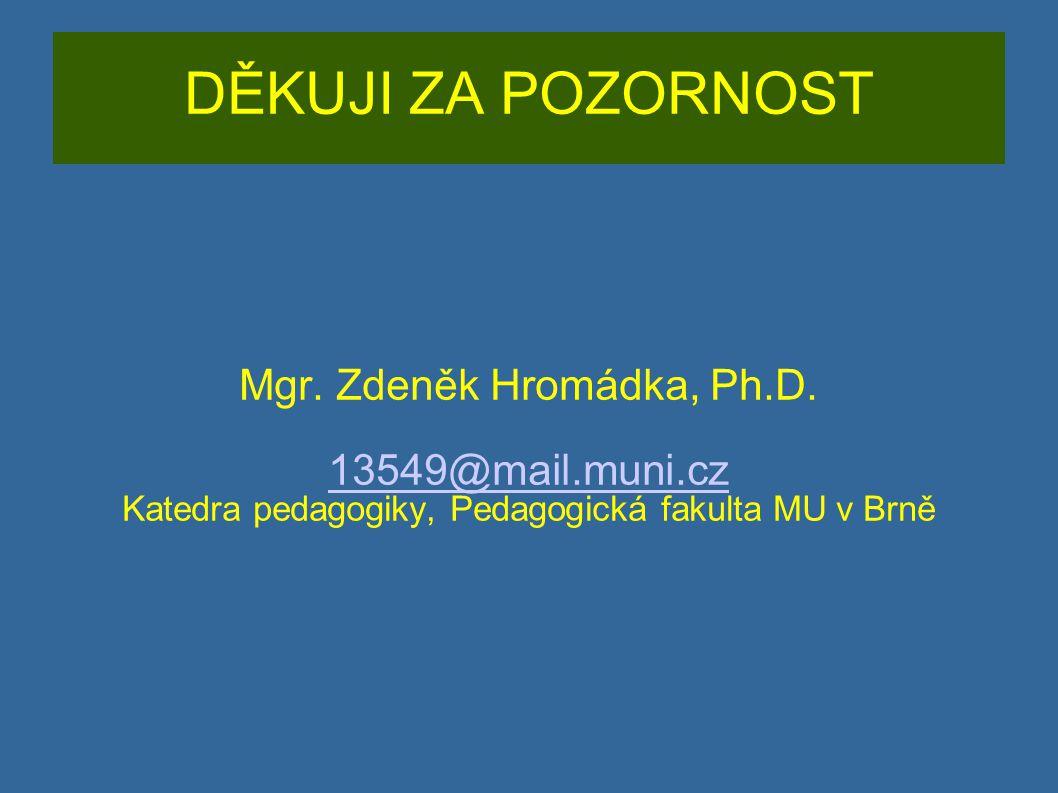 DĚKUJI ZA POZORNOST Mgr. Zdeněk Hromádka, Ph.D. 13549@mail.muni.cz Katedra pedagogiky, Pedagogická fakulta MU v Brně