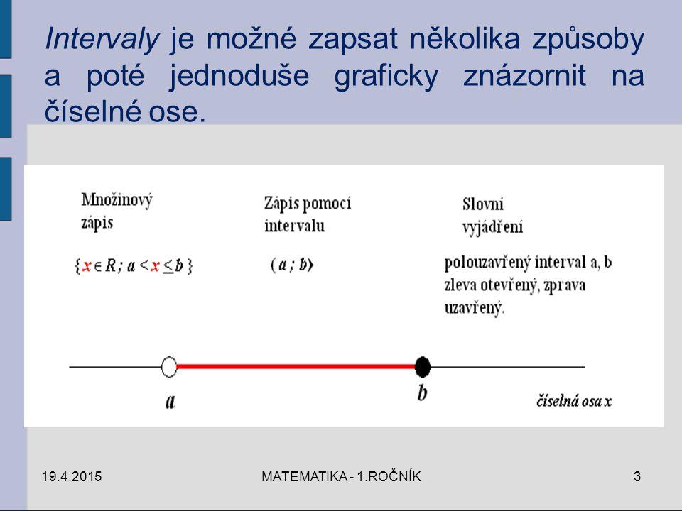 19.4.2015MATEMATIKA - 1.ROČNÍK3 Intervaly je možné zapsat několika způsoby a poté jednoduše graficky znázornit na číselné ose.