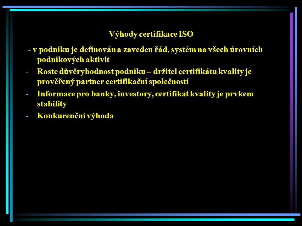 Výhody certifikace ISO - v podniku je definován a zaveden řád, systém na všech úrovních podnikových aktivit -Roste důvěryhodnost podniku – držitel certifikátu kvality je prověřený partner certifikační společností -Informace pro banky, investory, certifikát kvality je prvkem stability -Konkurenční výhoda
