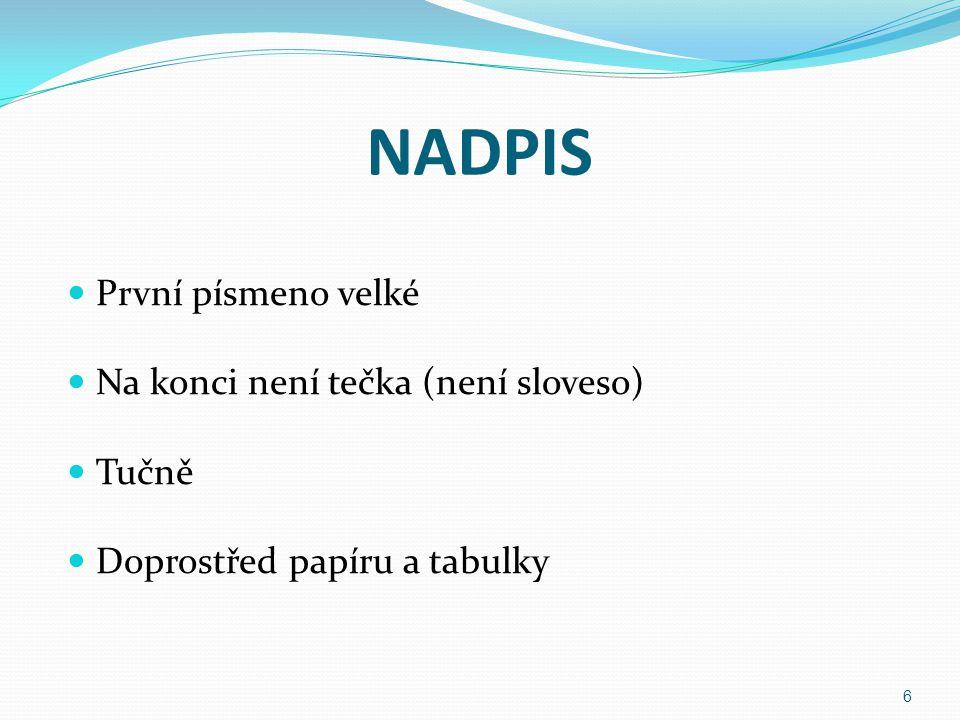 NADPIS První písmeno velké Na konci není tečka (není sloveso) Tučně Doprostřed papíru a tabulky 6