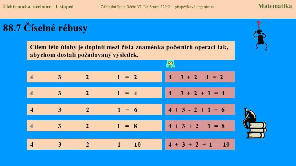 88.7 Číselné rébusy Elektronická učebnice - I.