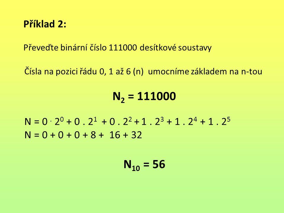 Příklad 2: Převeďte binární číslo 111000 desítkové soustavy Čísla na pozici řádu 0, 1 až 6 (n) umocníme základem na n-tou N 2 = 111000 N = 0. 2 0 + 0.