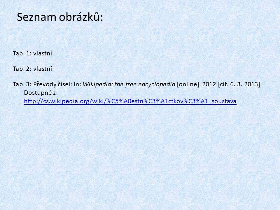 Seznam obrázků: Tab. 1: vlastní Tab. 2: vlastní Tab. 3: Převody čísel: In: Wikipedia: the free encyclopedia [online]. 2012 [cit. 6. 3. 2013]. Dostupné