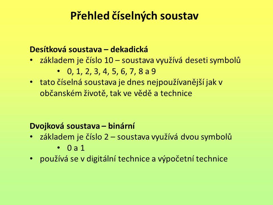 Přehled číselných soustav Osmičková soustava – oktalová základem je číslo 8 – soustava využívá osmi symbolů 0, 1, 2, 3, 4, 5, 6 a 7 je snadno převoditelná do binární soustavy využívá se v informatice – operační systémy unixového typu Šestnáctková soustava – hexadecimální základem je číslo 16 – soustava využívá šestnácti symbolů 0, 1, 2, 3, 4, 5, 6, 7, 8, 9, A, B, C, D, E a F je rovněž snadno převoditelná do binární soustavy využívá se ve výpočetní technice – zápis adres do operační paměti počítače