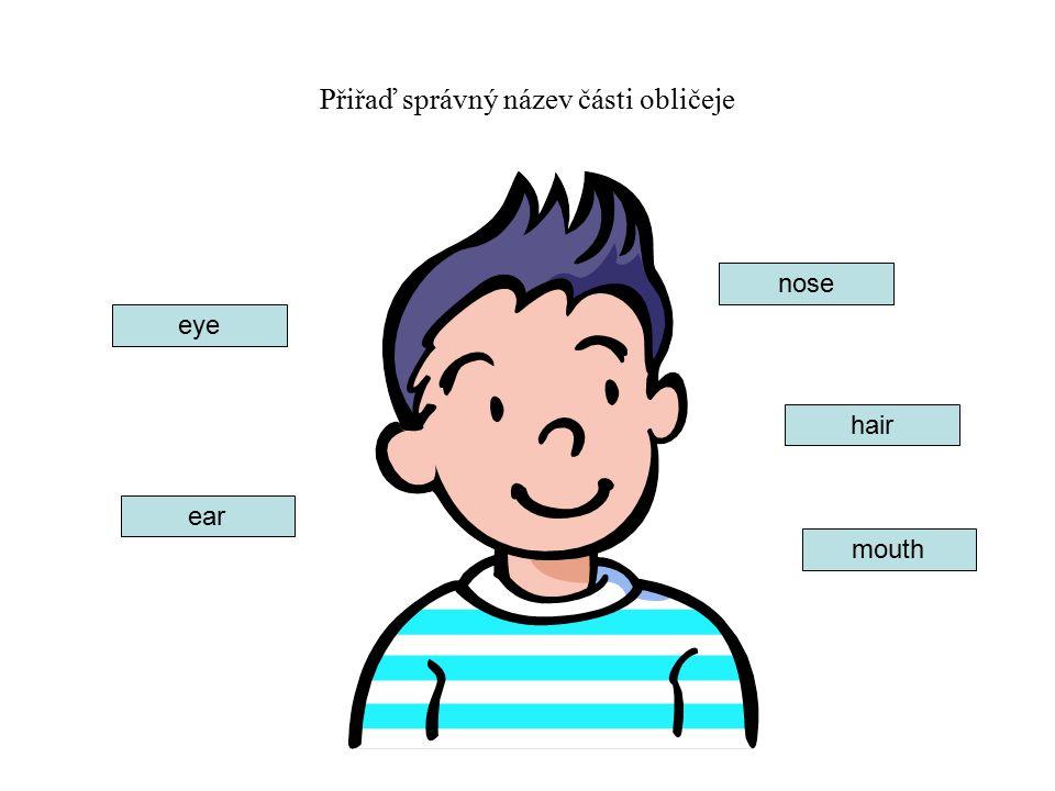 Přiřaď správný název části obličeje ear eye hair mouth nose