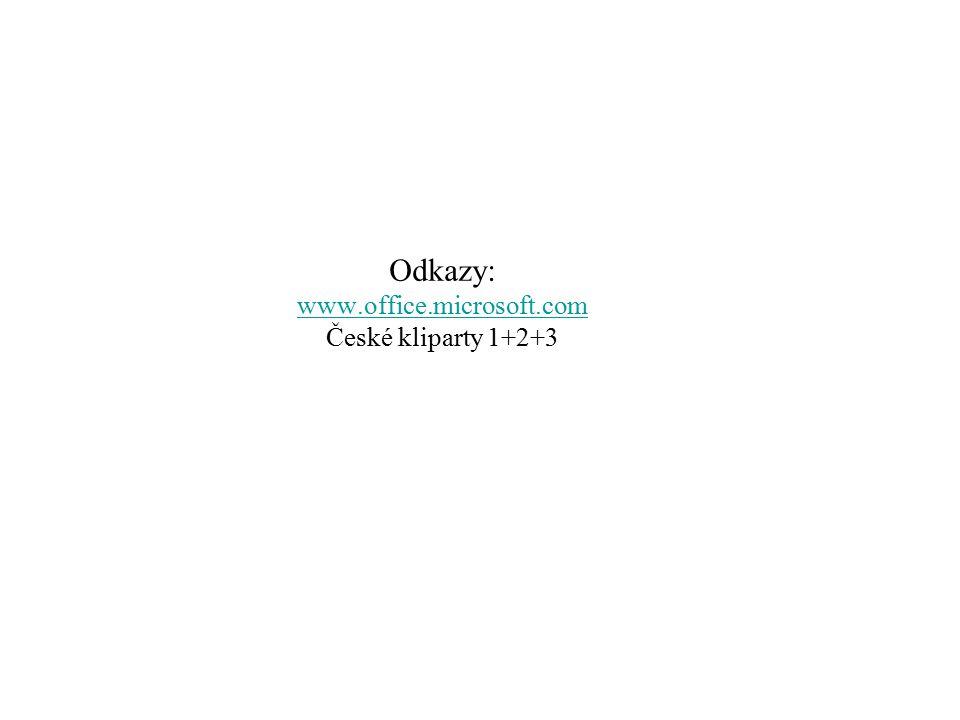 Odkazy: www.office.microsoft.com České kliparty 1+2+3 www.office.microsoft.com