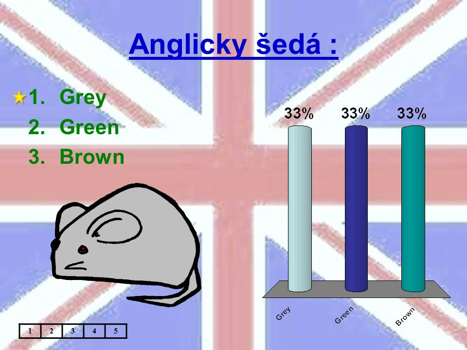 Anglicky šedá : 1.Grey 2.Green 3.Brown 12345