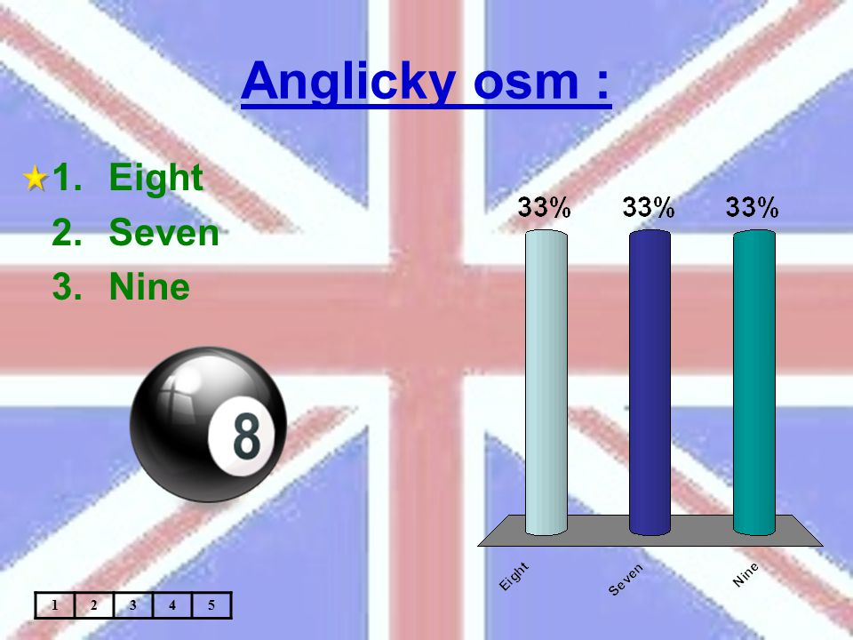 Anglicky osm : 1.Eight 2.Seven 3.Nine 12345