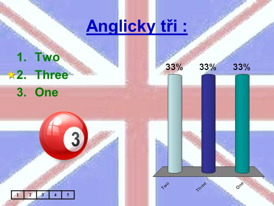Anglicky tři : 1.Two 2.Three 3.One 12345