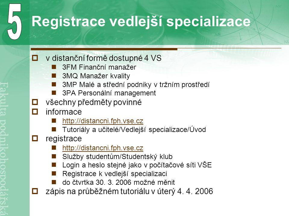 Registrace vedlejší specializace  v distanční formě dostupné 4 VS 3FM Finanční manažer 3MQ Manažer kvality 3MP Malé a střední podniky v tržním prostř