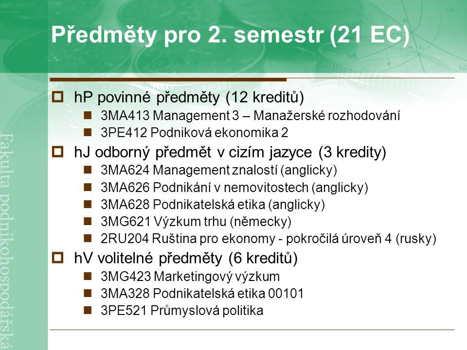 Předměty pro 2. semestr (21 EC)  hP povinné předměty (12 kreditů) 3MA413 Management 3 – Manažerské rozhodování 3PE412 Podniková ekonomika 2  hJ odbo