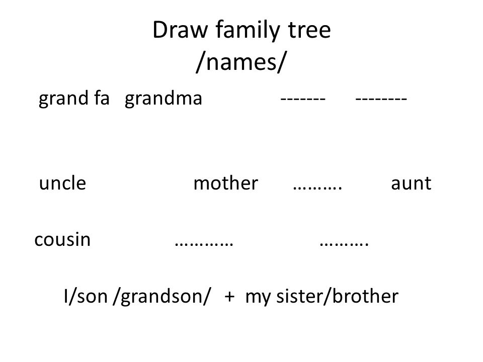 Draw family tree /names/ grand fa grandma ------- -------- uncle mother ………. aunt cousin…………………. I/son /grandson/ + my sister/brother