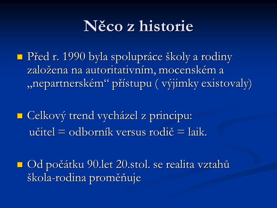 """Něco z historie Před r. 1990 byla spolupráce školy a rodiny založena na autoritativním, mocenském a """"nepartnerském"""" přístupu ( výjimky existovaly) Pře"""
