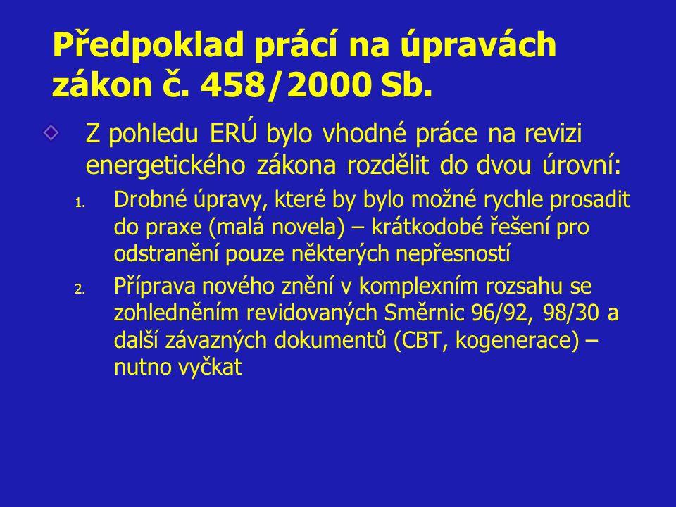 Předpoklad prácí na úpravách zákon č. 458/2000 Sb.