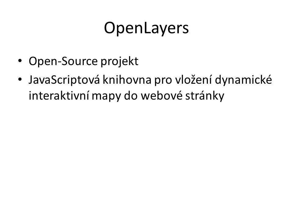 OpenLayers Open-Source projekt JavaScriptová knihovna pro vložení dynamické interaktivní mapy do webové stránky
