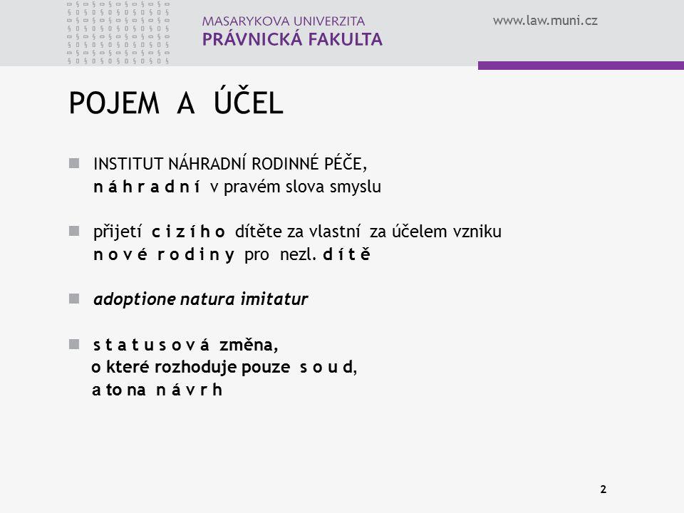 www.law.muni.cz 2 POJEM A ÚČEL INSTITUT NÁHRADNÍ RODINNÉ PÉČE, n á h r a d n í v pravém slova smyslu přijetí c i z í h o dítěte za vlastní za účelem v