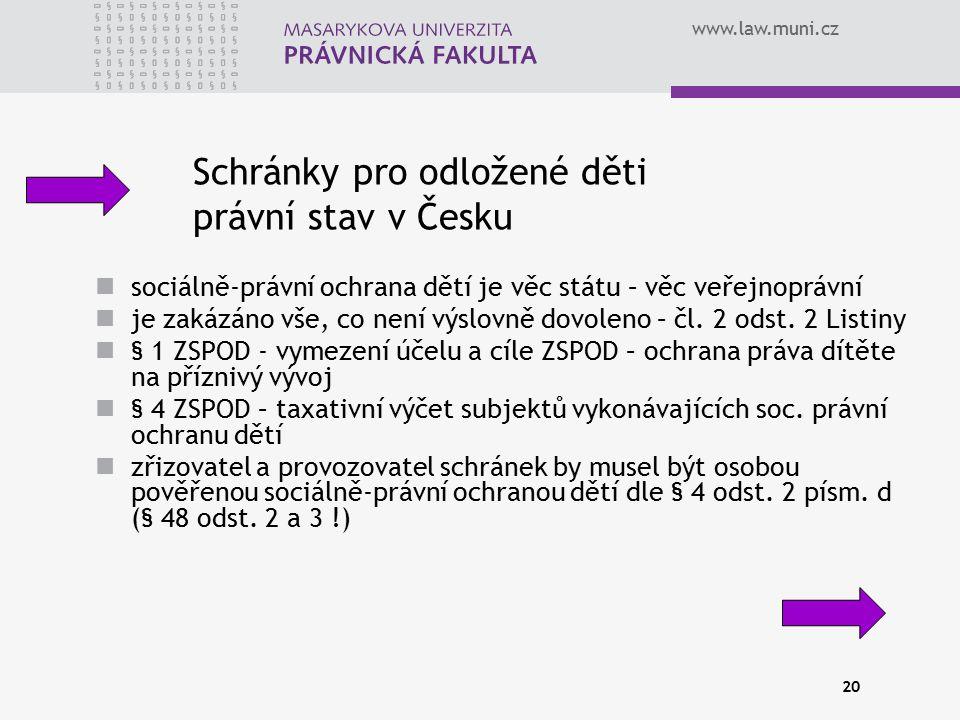www.law.muni.cz 20 Schránky pro odložené děti právní stav v Česku sociálně-právní ochrana dětí je věc státu – věc veřejnoprávní je zakázáno vše, co ne