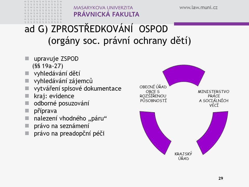 www.law.muni.cz 29 upravuje ZSPOD (§§ 19a-27) vyhledávání dětí vyhledávání zájemců vytváření spisové dokumentace kraj: evidence odborné posuzování pří