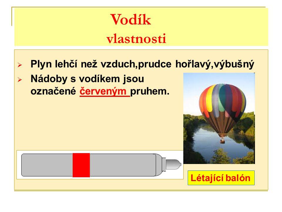  Plyn lehčí než vzduch,prudce hořlavý,výbušný  Nádoby s vodíkem jsou označené červeným pruhem. Létající balón Vodík vlastnosti