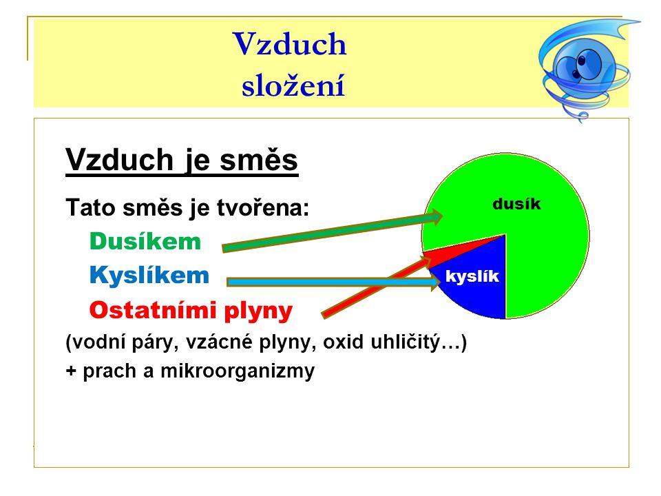 Dusík vlastnosti kyslík  Dusík je obsažen ve vzduchu v množství asi 78 %.
