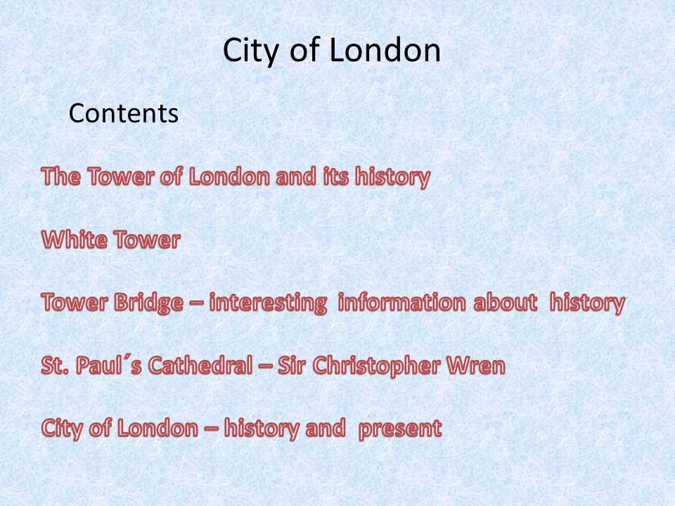 City of London Contents