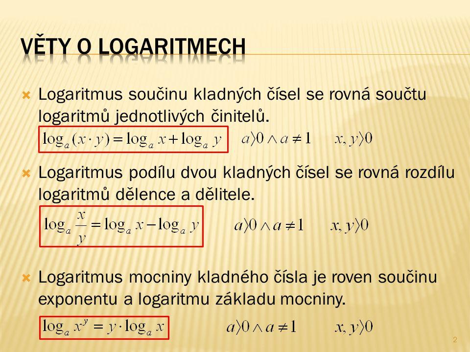  Logaritmus součinu kladných čísel se rovná součtu logaritmů jednotlivých činitelů.