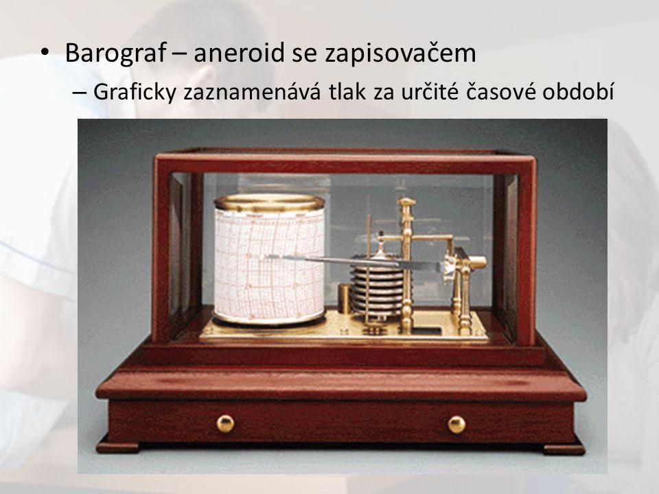 Barograf – aneroid se zapisovačem – Graficky zaznamenává tlak za určité časové období