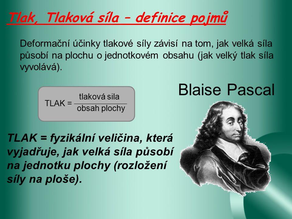 Tlak, Tlaková síla kde p je tlak v Pa, F je tlaková síla v N, S je obsah plochy, na kterou síla působí kolmo v m 2 p = F:S = F S Označení jednotky: p Základní jednotka: 1 Pa (Pascal = 1 N/m 2 )