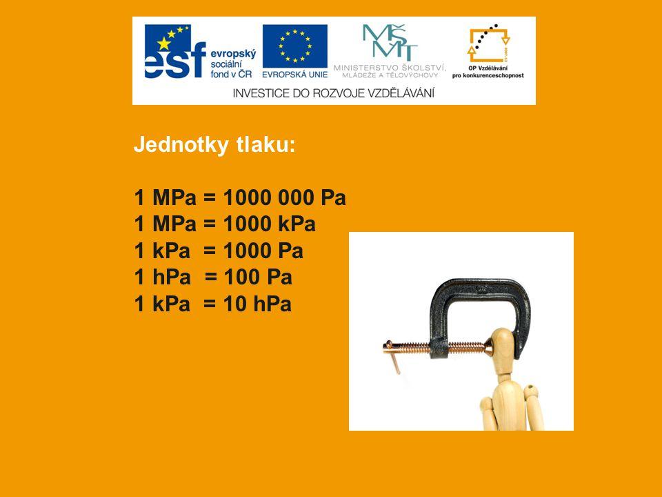 Jednotky tlaku: 1 MPa = 1000 000 Pa 1 MPa = 1000 kPa 1 kPa = 1000 Pa 1 hPa = 100 Pa 1 kPa = 10 hPa
