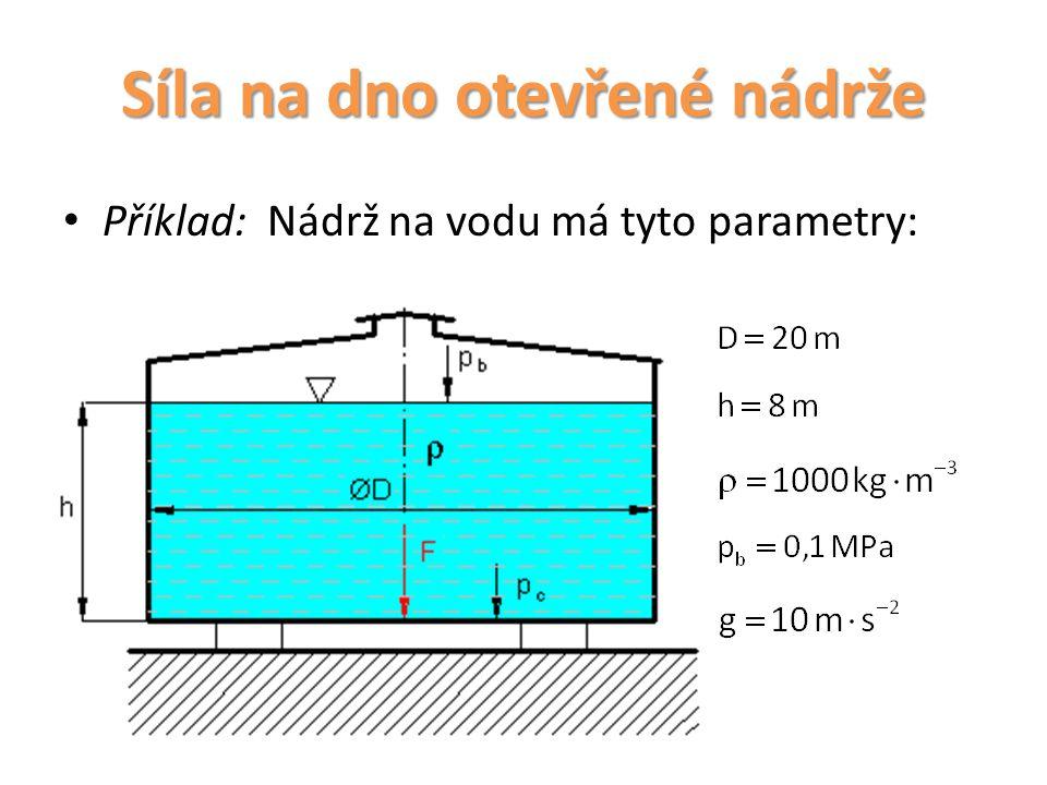 Síla na dno otevřené nádrže Vypočítejte: Celkový absolutní tlak na dno Hydrostatický tlak na dno Sílu namáhající dno