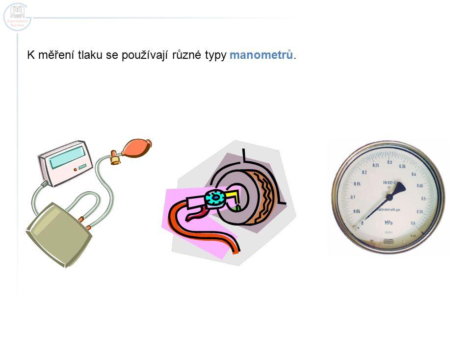 K měření tlaku se používají různé typy manometrů.