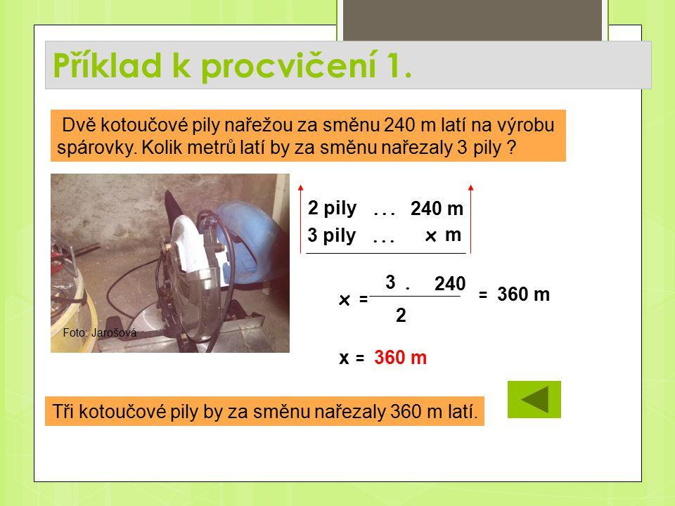 Příklad k procvičení 1. Tři kotoučové pily by za směnu nařezaly 360 m latí.