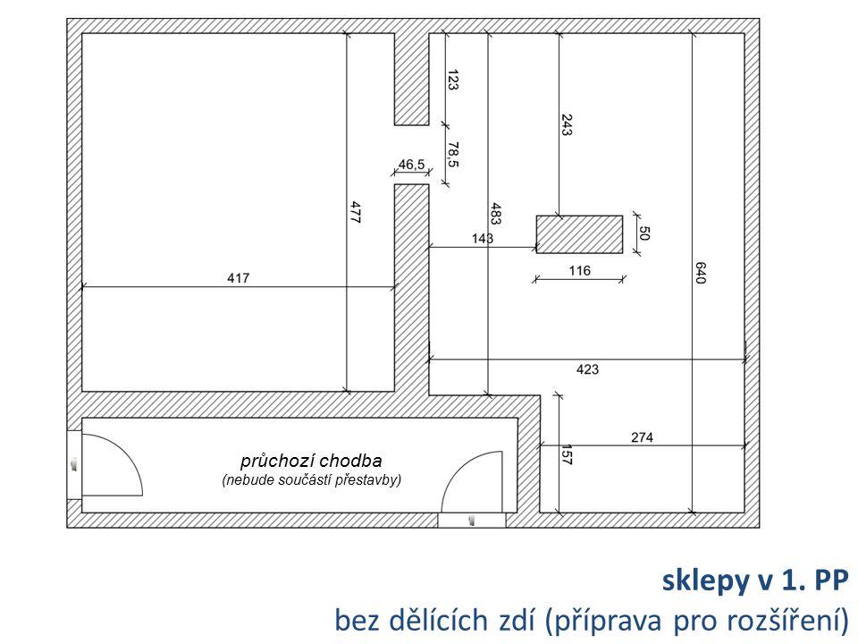 sklepy v 1. PP bez dělících zdí (příprava pro rozšíření) průchozí chodba (nebude součástí přestavby)