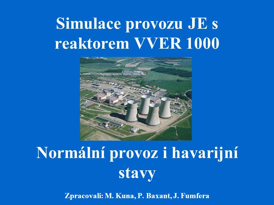 Simulace provozu JE s reaktorem VVER 1000 Normální provoz i havarijní stavy Zpracovali: M. Kuna, P. Baxant, J. Fumfera