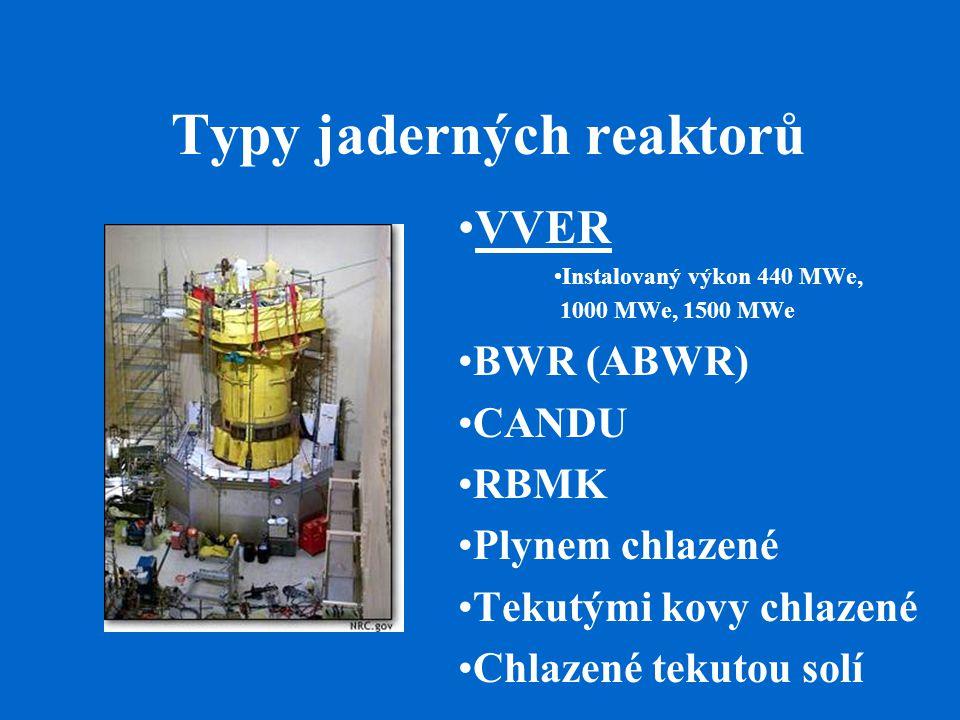 Typy jaderných reaktorů VVER Instalovaný výkon 440 MWe, 1000 MWe, 1500 MWe BWR (ABWR) CANDU RBMK Plynem chlazené Tekutými kovy chlazené Chlazené tekutou solí