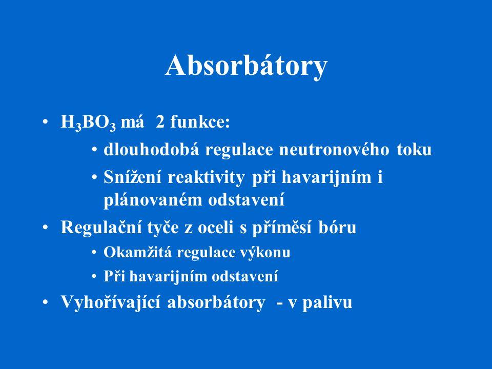 Absorbátory H 3 BO 3 má 2 funkce: dlouhodobá regulace neutronového toku Snížení reaktivity při havarijním i plánovaném odstavení Regulační tyče z ocel