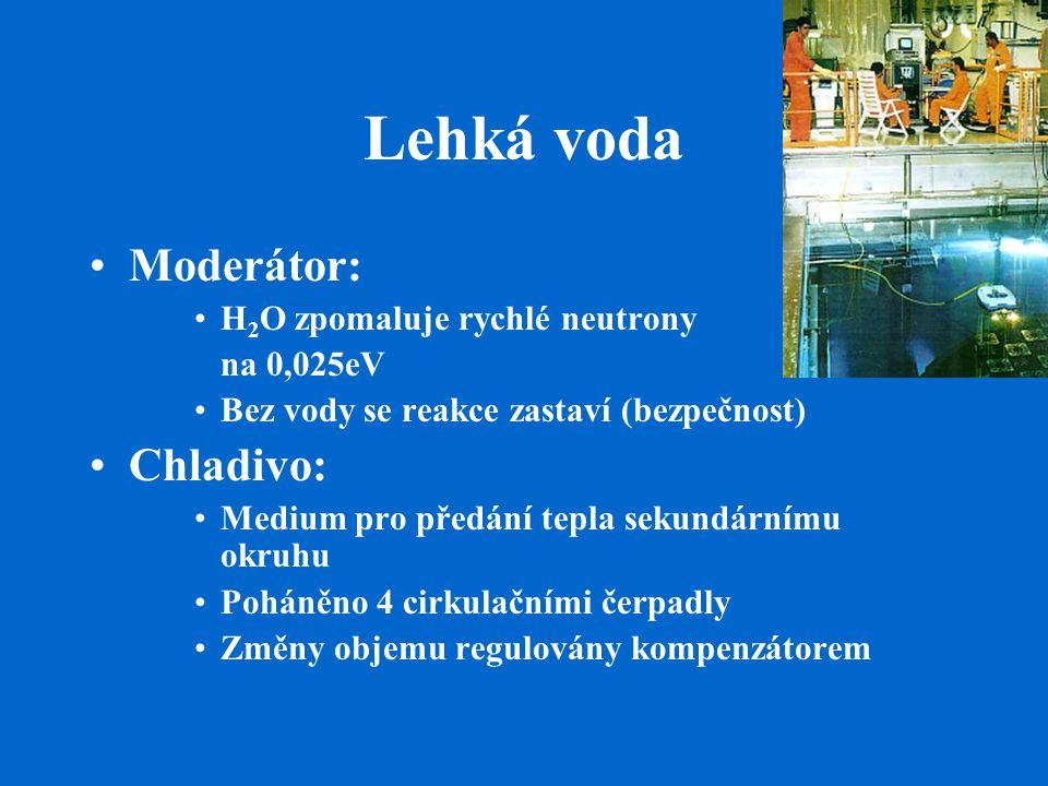 Lehká voda Moderátor: H 2 O zpomaluje rychlé neutrony na 0,025eV Bez vody se reakce zastaví (bezpečnost) Chladivo: Medium pro předání tepla sekundárnímu okruhu Poháněno 4 cirkulačními čerpadly Změny objemu regulovány kompenzátorem