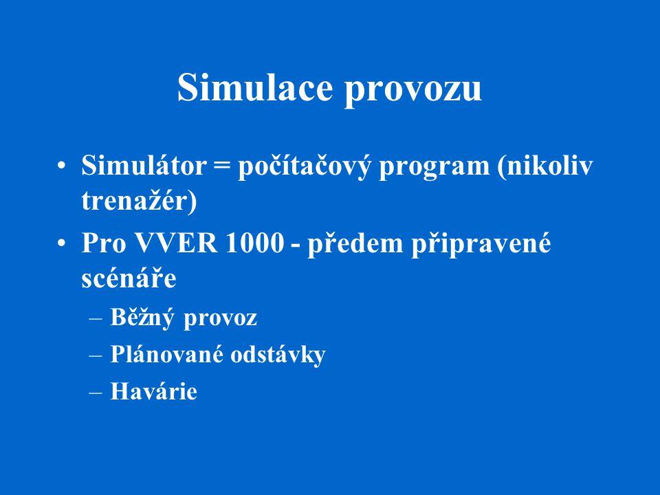 Simulace provozu Simulátor = počítačový program (nikoliv trenažér) Pro VVER 1000 - předem připravené scénáře –Běžný provoz –Plánované odstávky –Havári