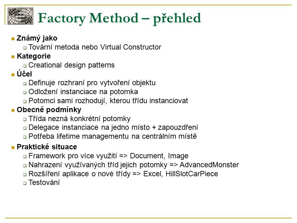 Factory Method – přehled Známý jako  Tovární metoda nebo Virtual Constructor Kategorie  Creational design patterns Účel  Definuje rozhraní pro vytvoření objektu  Odložení instanciace na potomka  Potomci sami rozhodují, kterou třídu instanciovat Obecné podmínky  Třída nezná konkrétní potomky  Delegace instanciace na jedno místo + zapouzdření  Potřeba lifetime managementu na centrálním místě Praktické situace  Framework pro více využití => Document, Image  Nahrazení využívaných tříd jejich potomky => AdvancedMonster  Rozšíření aplikace o nové třídy => Excel, HillSlotCarPiece  Testování
